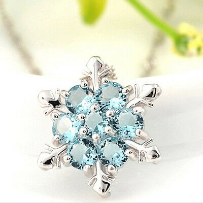 Korean Women Silver Blue Crystal Snowflake Flower Charm Pendant Necklace Gift