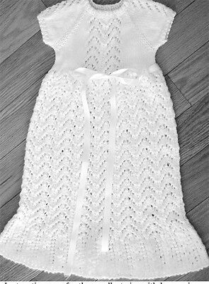 Knitting Pattern-Baby christening gown in DK- fits 0-6 months