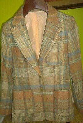 EXC Vintage Womens Bagatelle Brown Tartan Plaid Wool Blazer Made in USA Medium