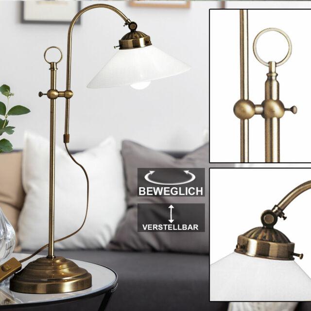 Ancien Landlife Bureau Comptoir Lampe Laiton Lampe Verre Vintage Retro