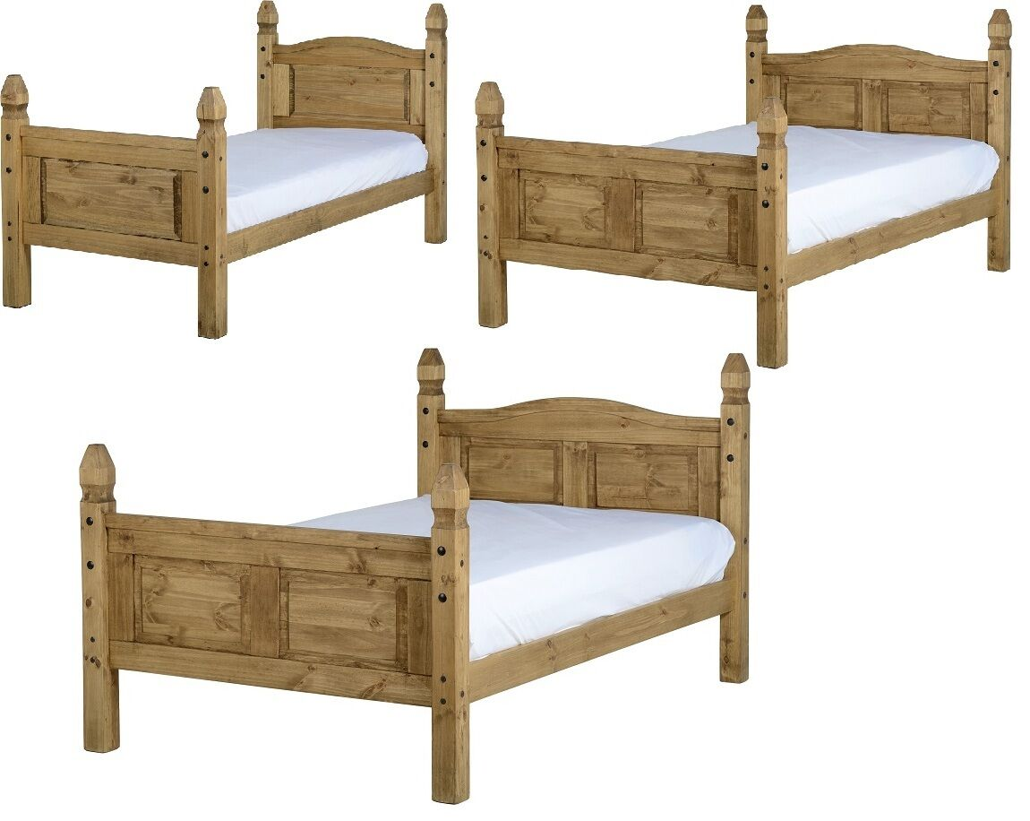 """CORONA MEXICAN WAXED PINE WOODEN BED FRAME SINGLE 3FT KINGSIZE 5FT DOUBLE 4/'6/"""""""