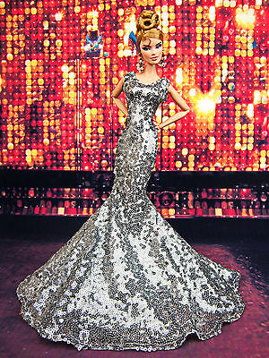 Gray Sequine Evening Mermaid Dress Outfit Fits Silkstone Barbie Fashion Royalty