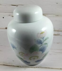 Otagiri-Peony-6-Lidded-Ginger-Jar-Pink-Flowers-Lidded-Vase-Japan-Porcelain-vtg