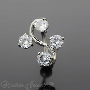 Reverse Simulated Diamond Dangle Belly Button Navel Silver Surgical Steel Ring Fashion Jewelry Body Jewelry