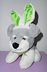 Dan-Dee-Puppy-Dog-Grey-White-Terrier-Green-Bunny-Ears-Plush-Stuffed-Animal