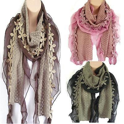 Luxury Floral Knit Infinity Scarf Snood Green Pink /& Oatmeal