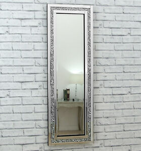 Gatsby crystal long silver glass framed full length for Long wall hanging mirrors