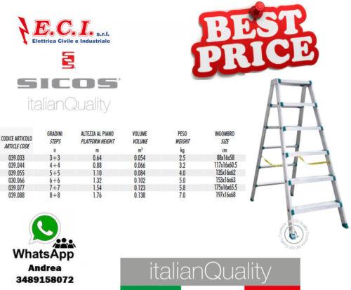 SICOS 039.044 Diplax Scala professionale in alluminio estruso 4+4 Gradini