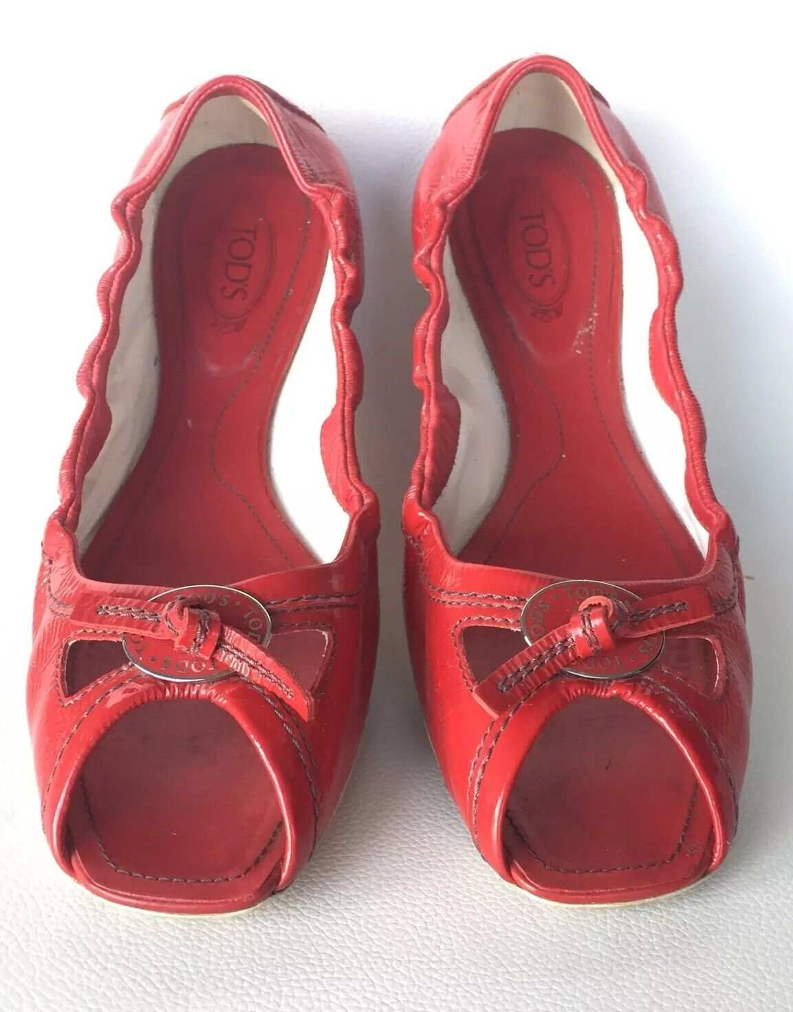 TOD'S Designer Red Patent Leather open toe Logo top top top Drivers Size 7.5 020bce