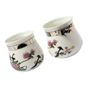 Ceramic Food Water Bowl Cups Parrot Bird Pigeons Cage Cup Feeder 2 Pack
