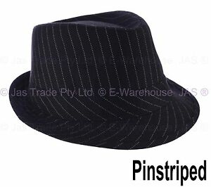 43492b9bdb225 Details about L XL FEDORA TRILBY GANSTER MICHAEL JACKSON WEDDING COSTUME HAT  BLACK   Striped
