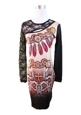 Womens Ladies Bodycon Party Evening Animal Lace Beaded Snake Print Dress 12 14 L
