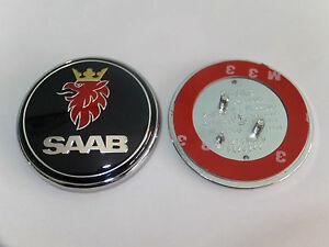 SAAB-68mm-insignia-del-capo-AZUL-Emblema-3-CLAVIJAS-Delantero-93-95-9-3-9-5