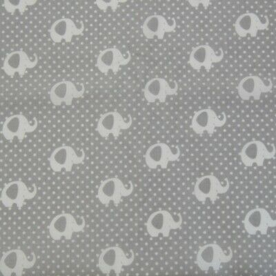Lucky Elephants Grey White 100/% cotton Fabric 160cm wide sewing patchwork craft