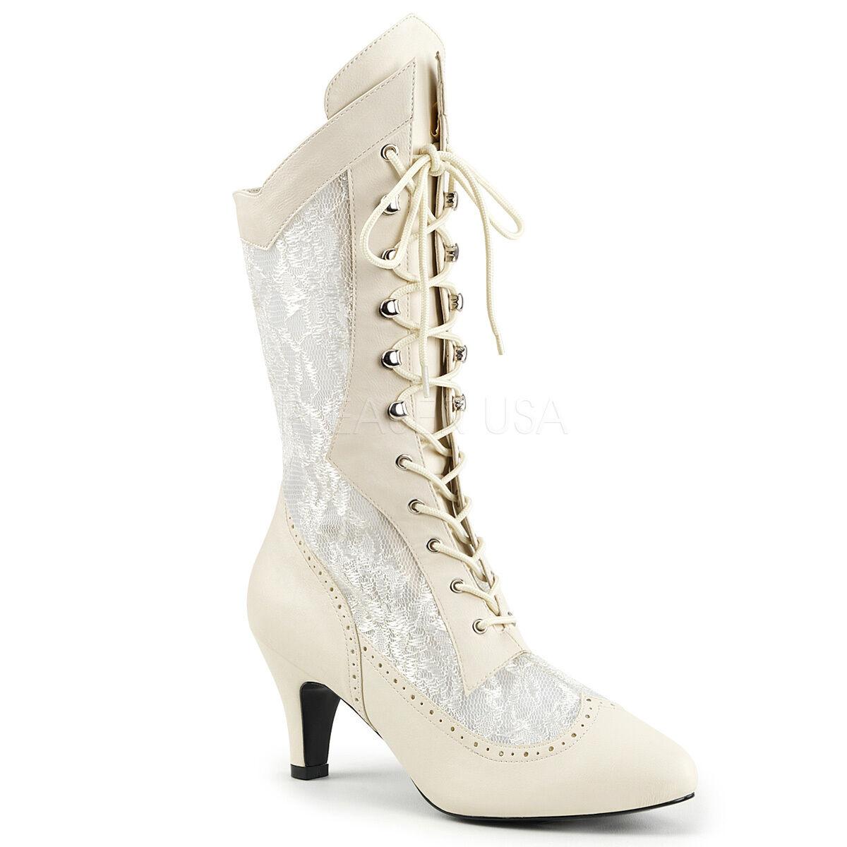 Wide Width & Shaft Victorian Renaissance 3  Heel Ivory Calf High Boots w  Lace
