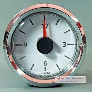 VDO-QUARZ-UHR-UHR-CLOCK-AUTO-MARINE-12V-ZIFFERBLATT-WEISS-CHROMRING
