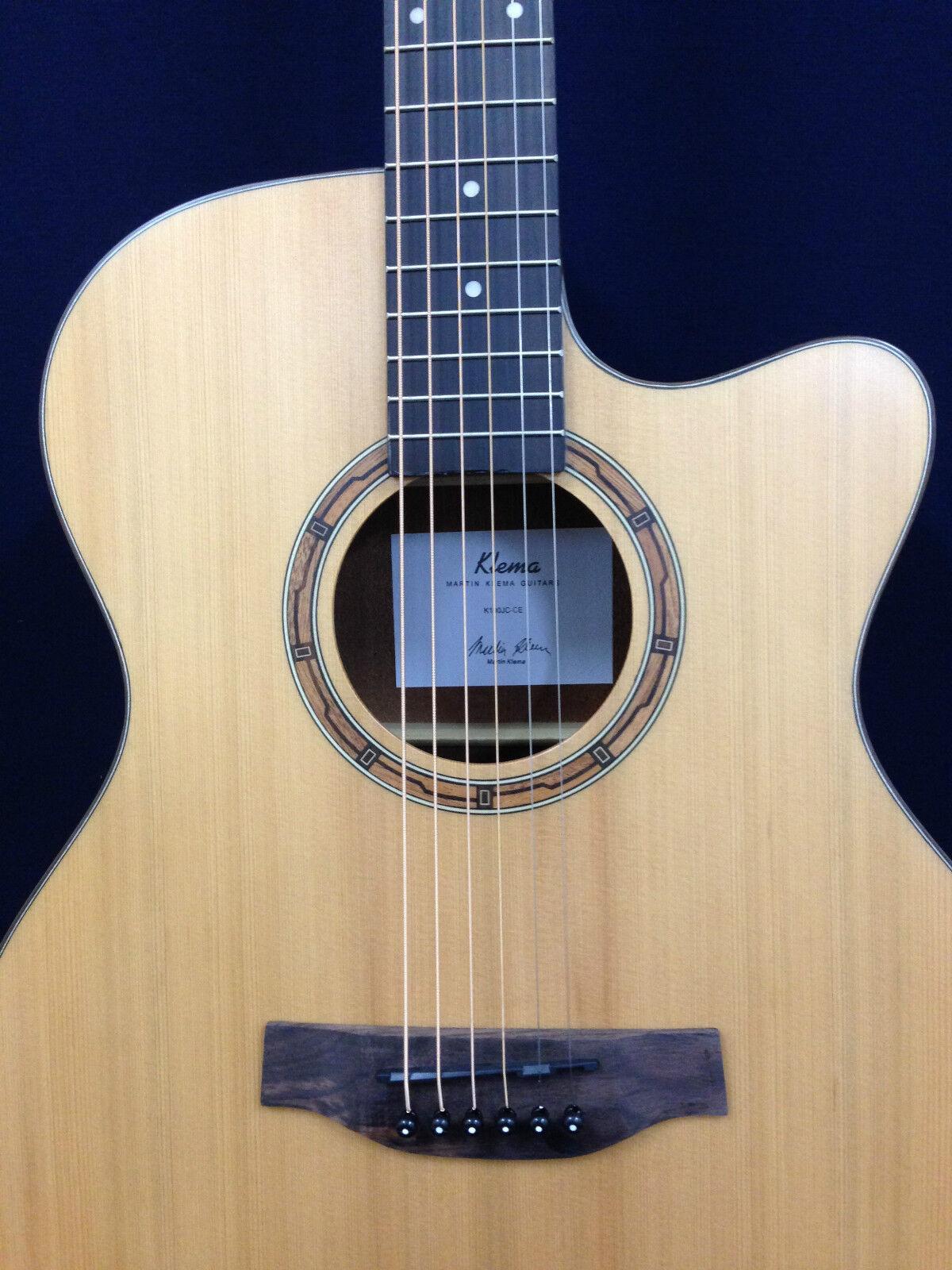 Klema K100JC-CE Small Jumbo Cutaway Acoustic Guitar,Natural Santin + Free Gig Ba