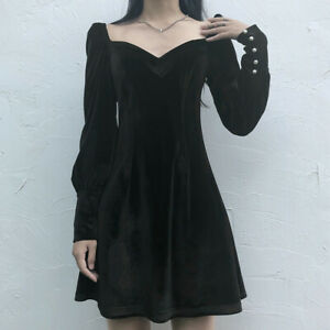 Women-Ladies-Velvet-Dress-Puff-Sleeve-Retro-Gothic-Lolita-Party-Club-Mini-Black