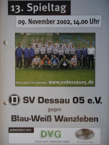 Programm 2002/03 SV Dessau 05 BW Wanzleben Sammeln & Seltenes Memorabilia