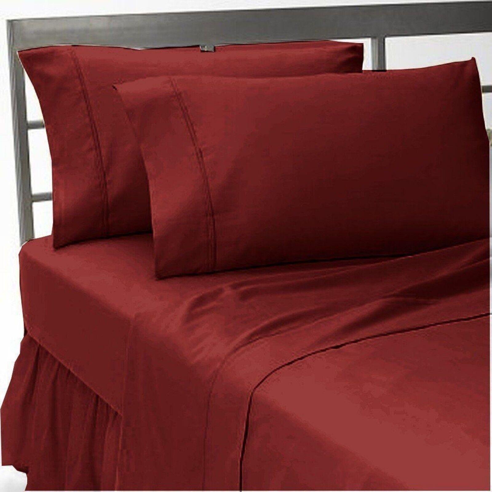 Luxurious 600 Thread-Count 100% Cotton 4 PCs Burgundy Solid Sheet Set