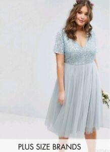 New-ASOS-Curves-Plus-Lovedrobe-Luxe-VNeck-Midi-Dress-Sequin-Tulle-Skirt-18-20-22
