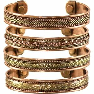 Set-of-4-Tibetan-Copper-Bracelets-Magnetic-India-Pattern-Women-039-s-Men-039-s-Spiritual