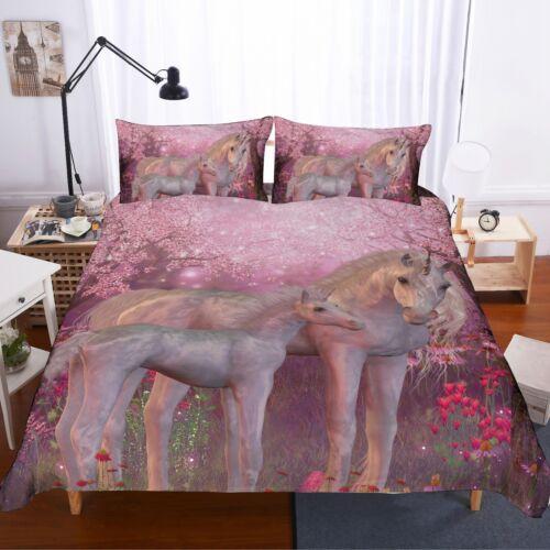 3D Unicorn /& Her Children Bedding Set Duvet Cover Comforter Cover Pillow Case