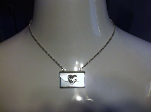 brighton crystal heart notes necklace envelope with note inside ebay
