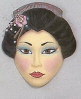 Ceramic Bisque Oriental Woman Mask Wall Hanging U Paint Ready To Paint
