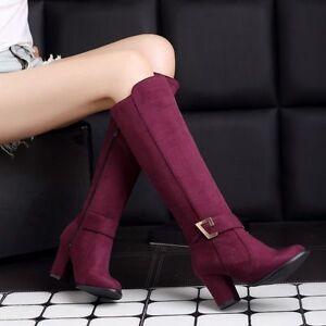 3ada8f041d9 Style Womens Block Heels Side Zip Faux Suede Knee High Knight Boot ...