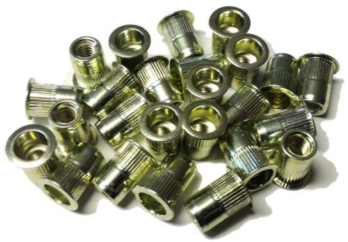 Rivet nuts 1//4-20 steel 25pc BUY 3 or MORE 10/% Rebate rivnut riv nut nutsert
