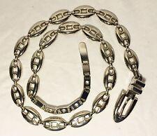 "Heavy Silvertone Chain Link Metal Belt Non tarnish Waist Sm 32-35"" Xmas Stocking"