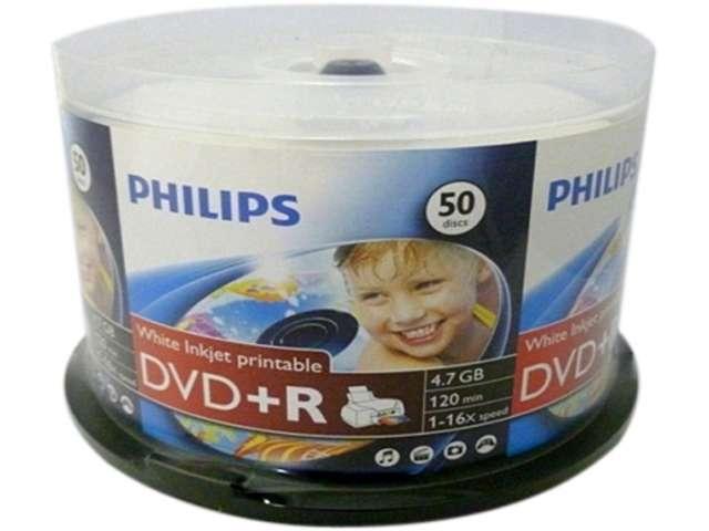 200 Philips Brand 16x White Inkjet Hub Printable DVD+R [Plus] Disc with Cake Box
