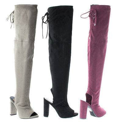 Delicious Women/'s Back Lace Tie Over The Knee High Heel Dress Boot