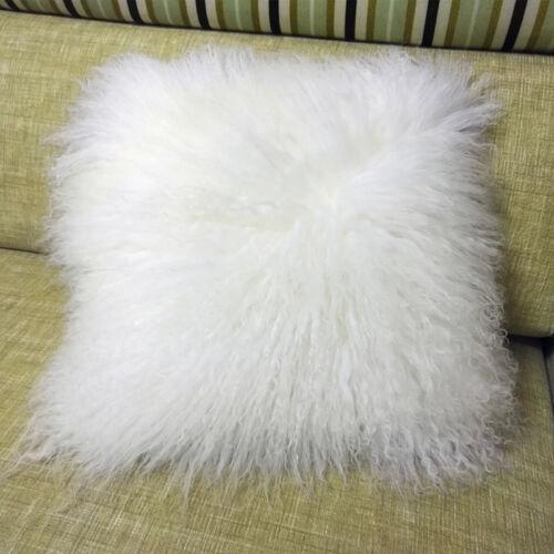 Mongolian Lamb Wool Cushion Cover White Curly Fur Pillowcase 16*16inc High-grade
