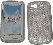 Patrón de TPU Gel suave caso protector de la cubierta de gelatina clara para HTC Desire S G12 S510e