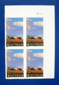 Sc-3206-Plate-Block-32-cent-Wisconsin-Statehood-150th-Anniversary-Issue