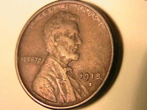 1918-S-USA-Lincoln-Wheat-Cent-Brown-CH-VF-Nice-Original-One-Penny-Bronze-Coin
