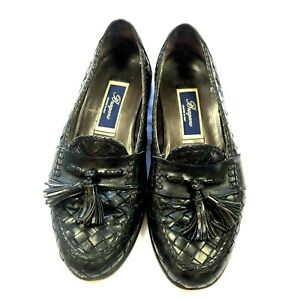 Bragano Italy Men's Woven Black Leather Slip On Loafers Tassels 04435 Size 8.5 Catalogues Will Be Sent Upon Request Dress Shoes Clothing, Shoes & Accessories