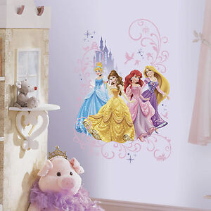 Image is loading DISNEY-PRINCESS-CASTLE-Wall-Decals -Cinderella-Belle-Rapunzel- & DISNEY PRINCESS CASTLE Wall Decals Cinderella Belle Rapunzel Ariel ...
