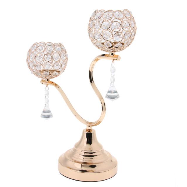 Gold Crystal Candle Holders Candelabras Votive Tea Light Holder Home Decor