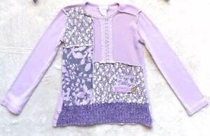 Naartjie-Sweater-Size-4-Girls-Purple-Floral-Lavender-Plum-Rare-amp-VHTF