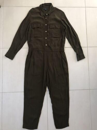 Madewell Women Sz L Jumpsuit Boilersuit Button Dow