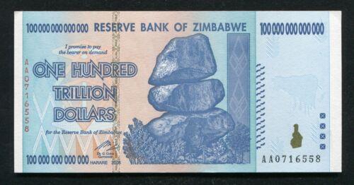 AA P-91 GEM UNCIRCULATED 2008 100 TRILLION DOLLARS RESERVE BANK OF ZIMBABWE