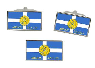 Chania City Greece Flag Cufflinks Engraved Tie Clip Set