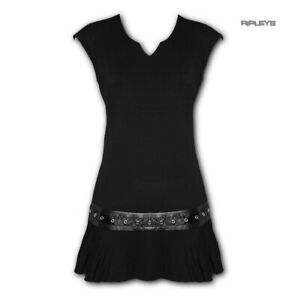 Spiral-Direct-Gothic-Elegance-Ladies-Black-Mini-STUD-DRESS-Top-All-Sizes