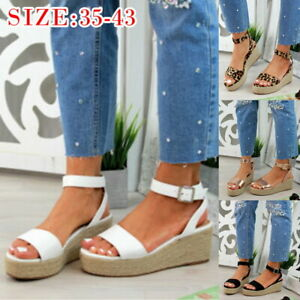 Femmes-Plate-forme-Sandales-Espadrille-Cheville-Sangle-d-039-ete-Chaussures-Plage