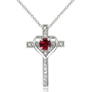lo último 5a955 51901 Detalles acerca de Plata esterlina 925 creado Rubí Y Diamante acento Cruz  Collar de corazón- mostrar título original