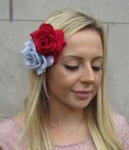 Red Pale Light Baby Powder Blue Double Rose Flower Hair Clip Fascinator 6093 Ebay