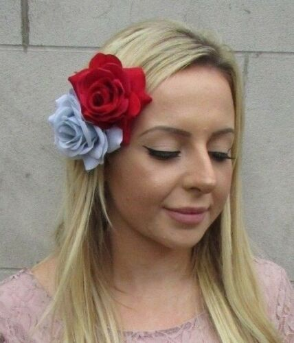 Red Pale Light Baby Powder Blue Double Rose Flower Hair Clip Fascinator 6093